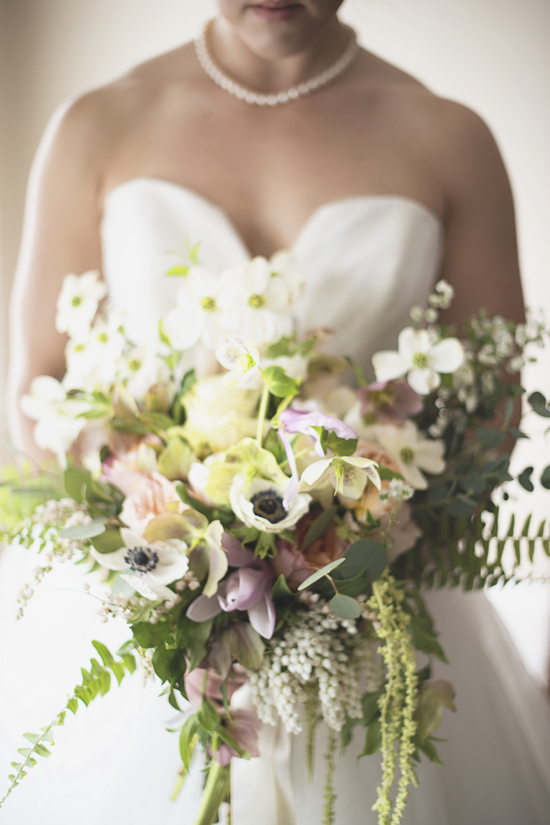 Spring florals with anenomes | Bridal bouquet