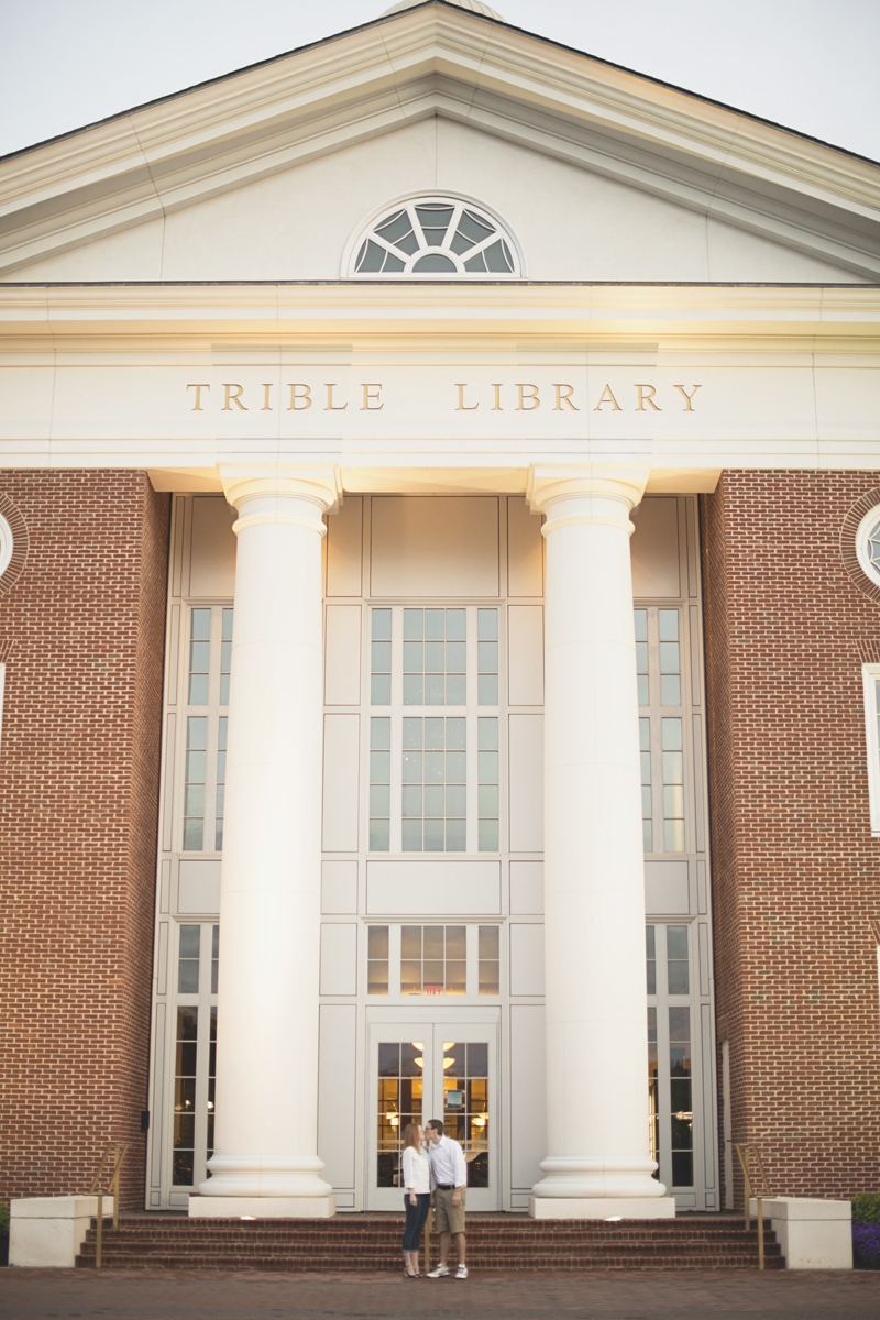 Sunrise engagement session in front of Trible Library at Christopher Newport University