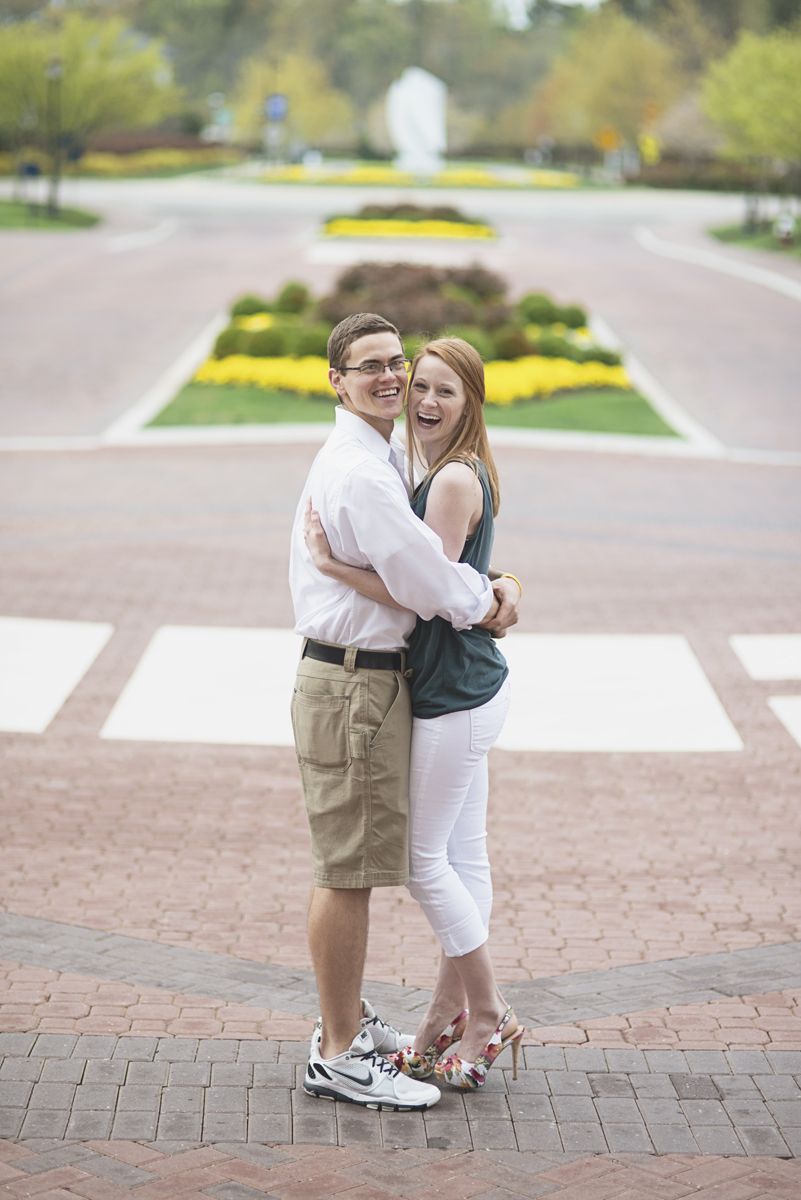 College campus engagement session | Emerald green, white, and khaki outfit