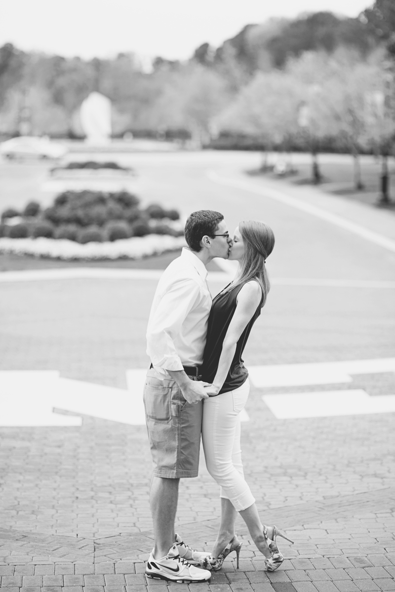 College campus engagement session | Black and white