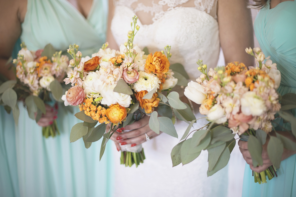 Inn at Warner Hall Wedding Pictures |   Blush, tangerine, and white bridal bouquets with eucalyptus