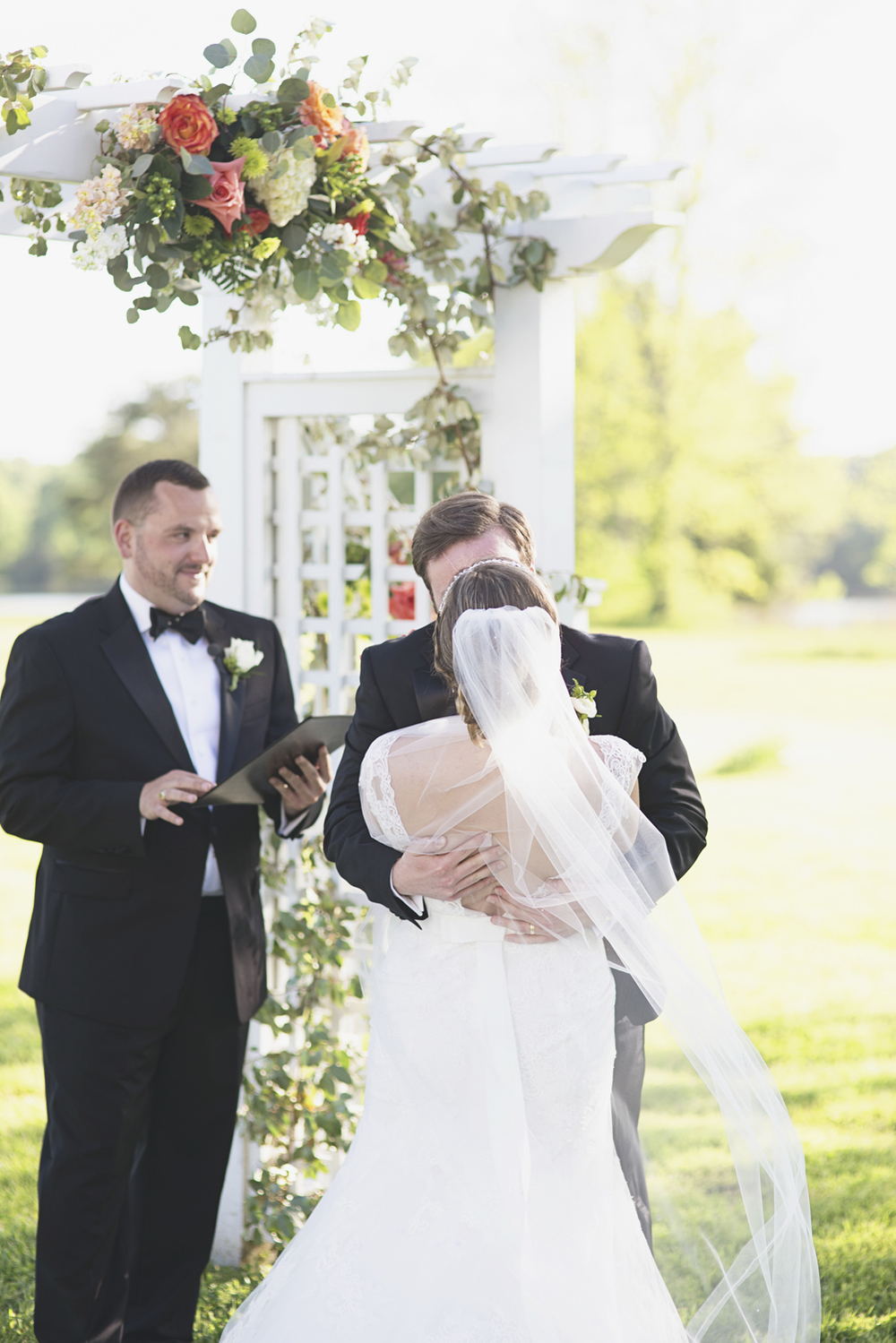 Inn at Warner Hall Wedding P  hotography | Bride & groom first kiss