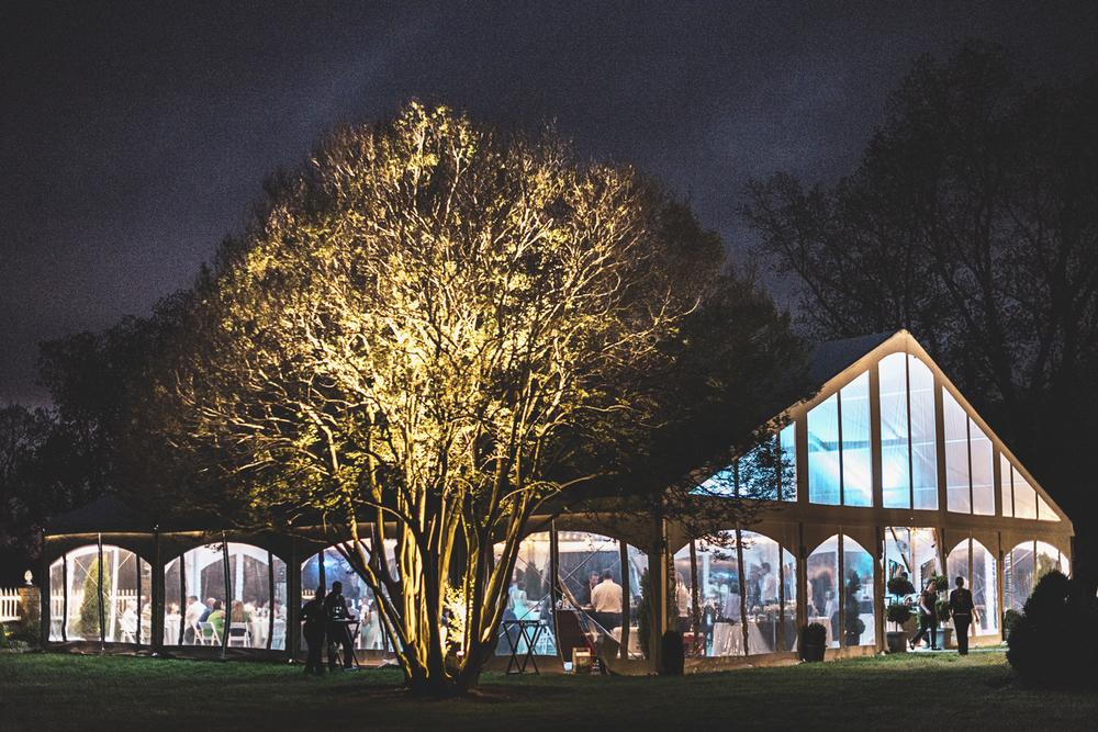 Inn at Warner Hall Wedding Photography | Reception tent at night