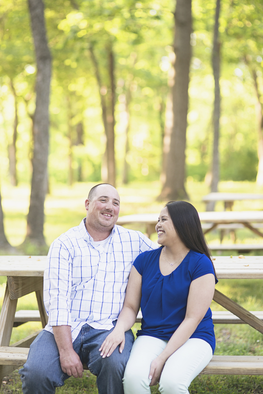 Windsor Castle Park Engagement Session in Smithfield, Virginia | Picnic bench