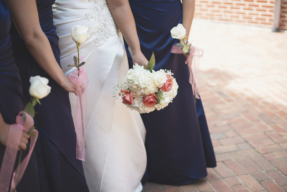Tabernacle UMC Wedding in Poquoson, Virginia |  Bridesmaids in navy dresses