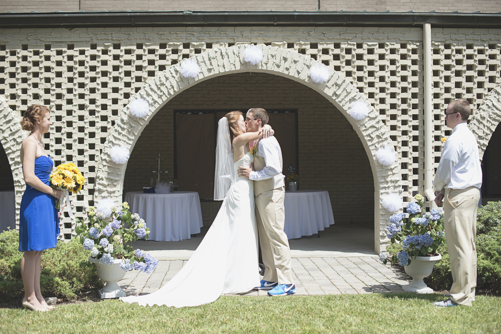Mariners Museum Wedding | Newport News, Virginia |  Bride and groom first kiss