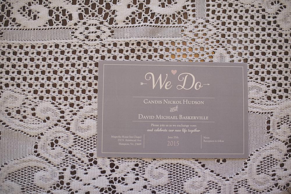 Magnolia House Inn Wedding | Hampton, Virginia Wedding | Gray and white wedding invitation