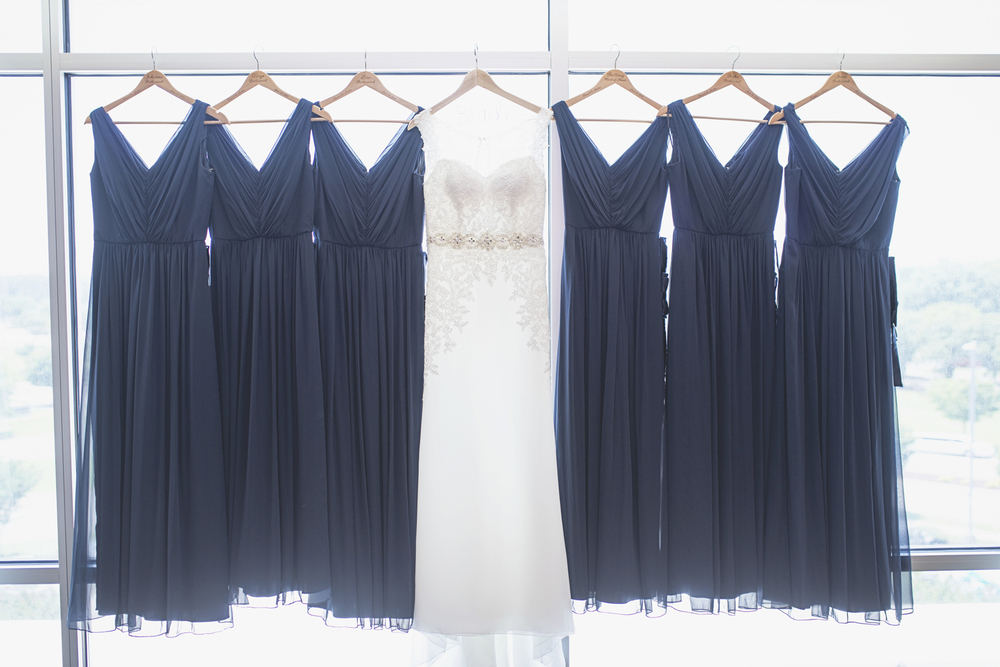 Langley Chapel Air Force Military Wedding | Hampton, Virginia | Navy blue bridesmaid dresses