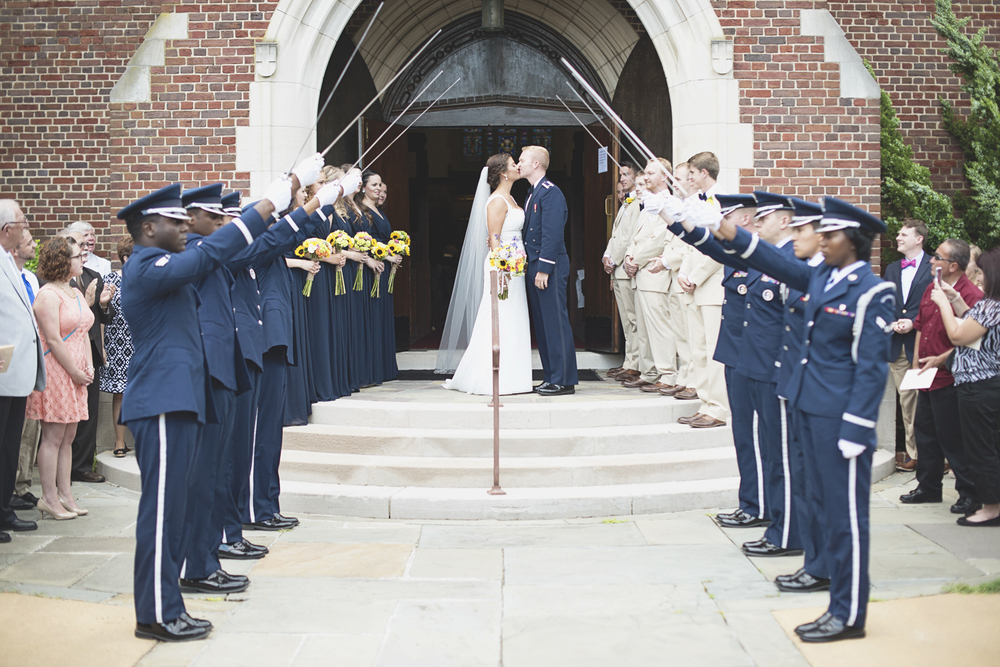 Langley Chapel Air Force Military Wedding | Hampton, Virginia | Arch of sabers military wedding