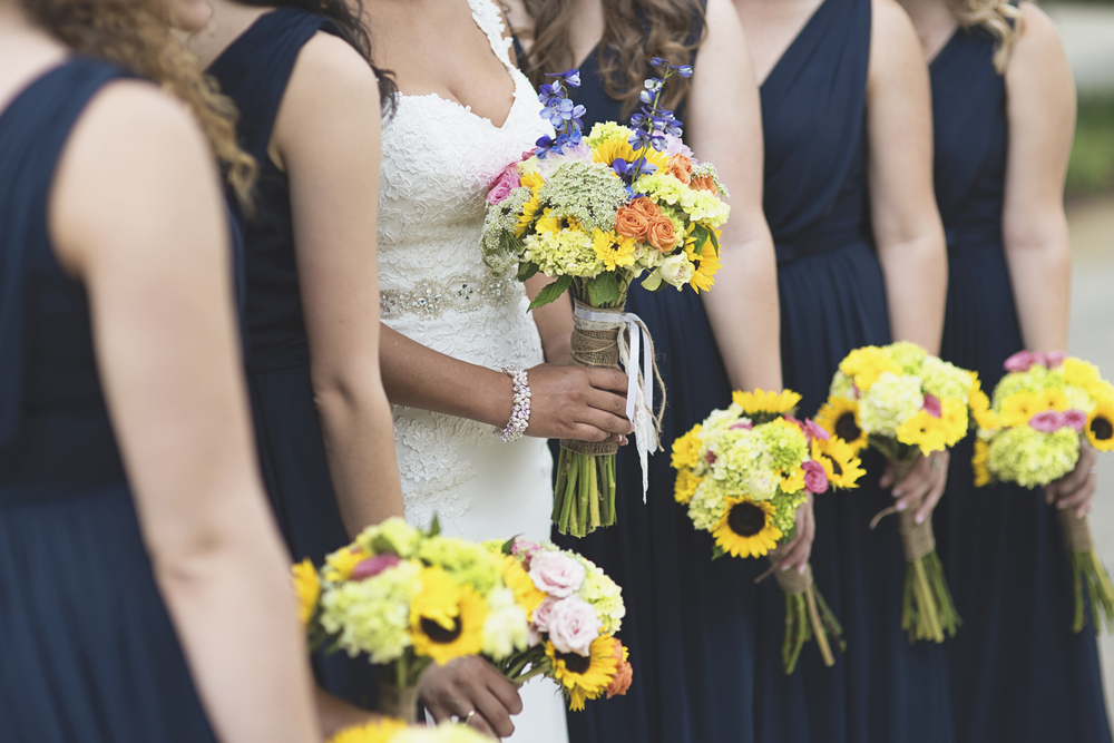 Langley Chapel Air Force Military Wedding | Hampton, Virginia | Navy blue and yellow bridesmaid flower pictures