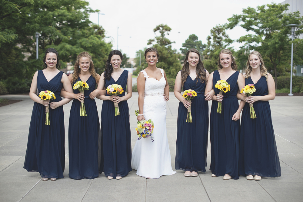 Langley Chapel Air Force Military Wedding | Hampton, Virginia | Navy blue and yellow bridesmaid pictures