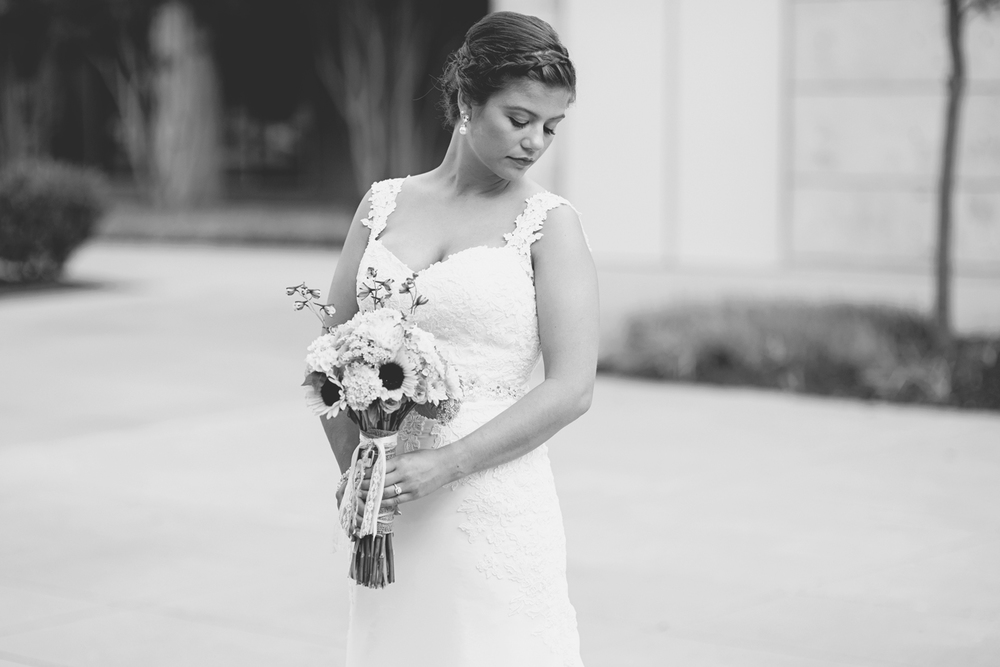 Langley Chapel Air Force Military Wedding | Hampton, Virginia | Bridal portrait | Black and white