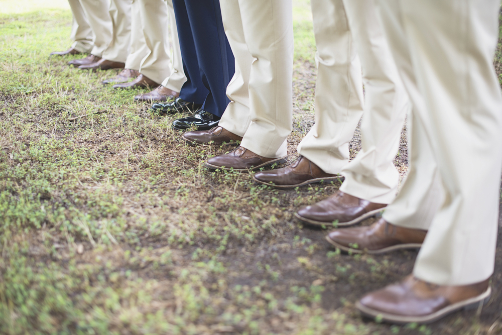 Langley Chapel Air Force Military Wedding | Hampton, Virginia | Tan, khaki, and navy groomsmen portraits