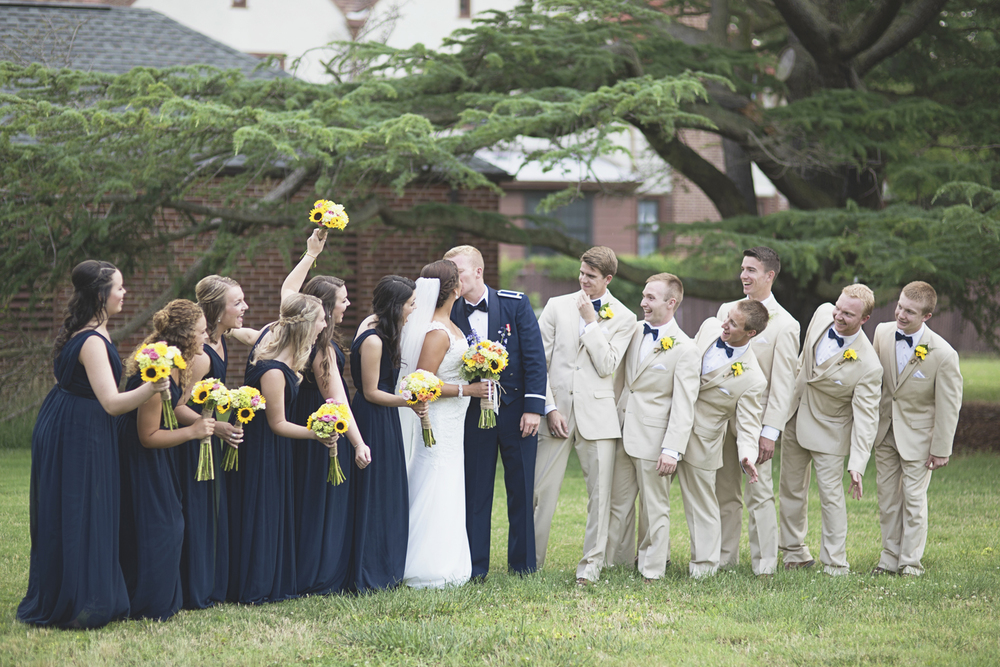Langley Chapel Air Force Military Wedding | Hampton, Virginia | Navy blue, yellow, and tan bridal party pictures