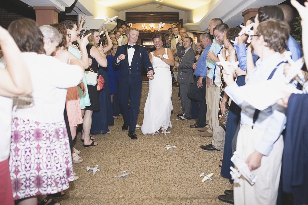 Langley Chapel Air Force Military Wedding | Hampton, Virginia | Wedding reception airplane exit