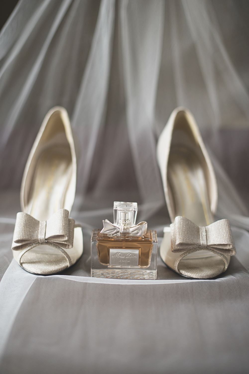 Trump National Golf Club Wedding | Washington, DC Wedding | Sparkly gold shoes with bow and Miss Dior perfume
