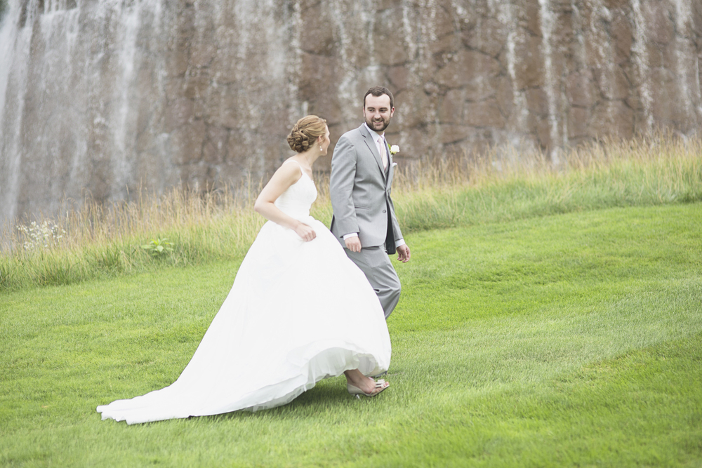 Trump National Golf Club Wedding | Washington, DC Wedding | Bride & groom first look portraits in front of a waterfall