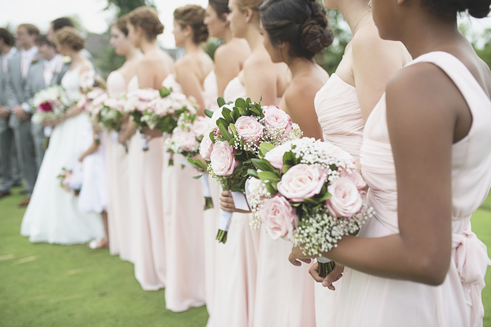Trump National Golf Club Wedding | Washington, DC Wedding | Bridal party portraits with blush pink rose bridesmaid bouquet