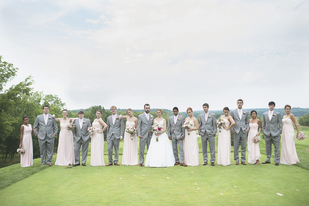 Trump National Golf Club Wedding | Washington, DC Wedding | Bridal party portraits with blush pink bridesmaid dresses and gray tuxedos | Editorial bridal party portraits