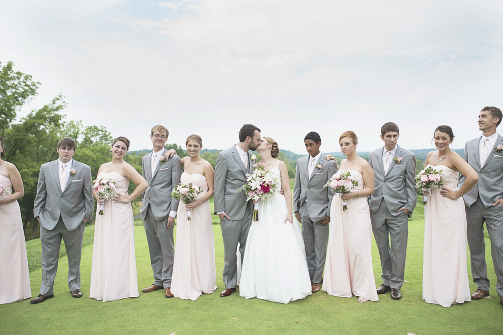 Trump National Golf Club Wedding | Washington, DC Wedding | Bridal party portraits with blush pink bridesmaids dresses and gray tuxedos | Editorial style bridal party