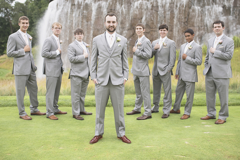 Trump National Golf Club Wedding | Washington, DC Wedding | Gray groomsmen tuxes with brown Oxford shoes