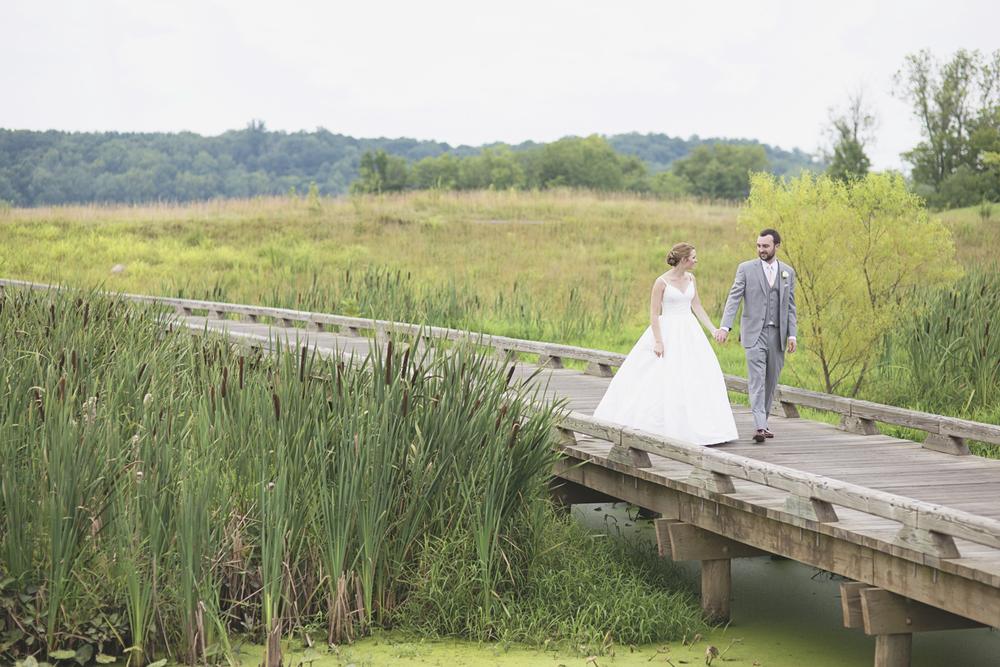 Trump National Golf Club Wedding | Washington, DC Wedding | Bride and groom portraits on a bridge