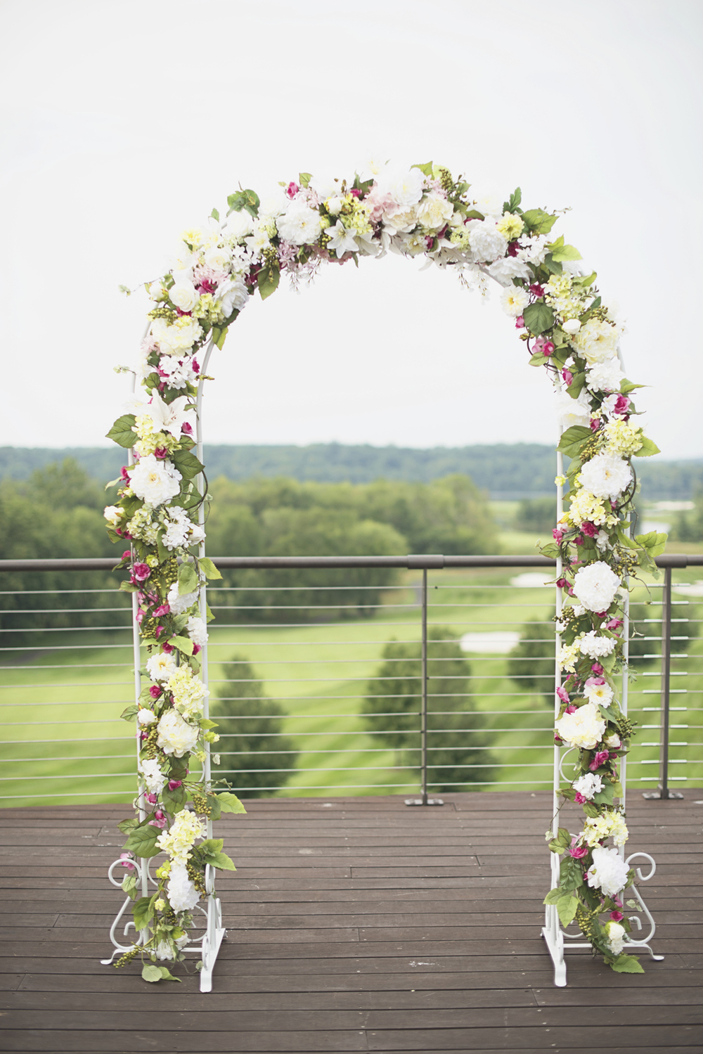 Trump National Golf Club Wedding | Washington, DC Wedding | Wedding ceremony | Pink, white, and green floral arch