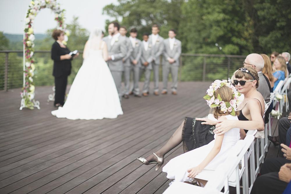 Trump National Golf Club Wedding | Washington, DC Wedding | Wedding ceremony | Flower girl with floral crown