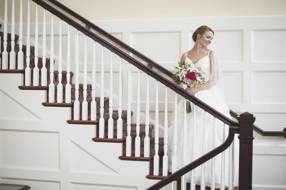 Trump National Golf Club Wedding | Washington, DC Wedding | Stunning bridal portrait on a staircase