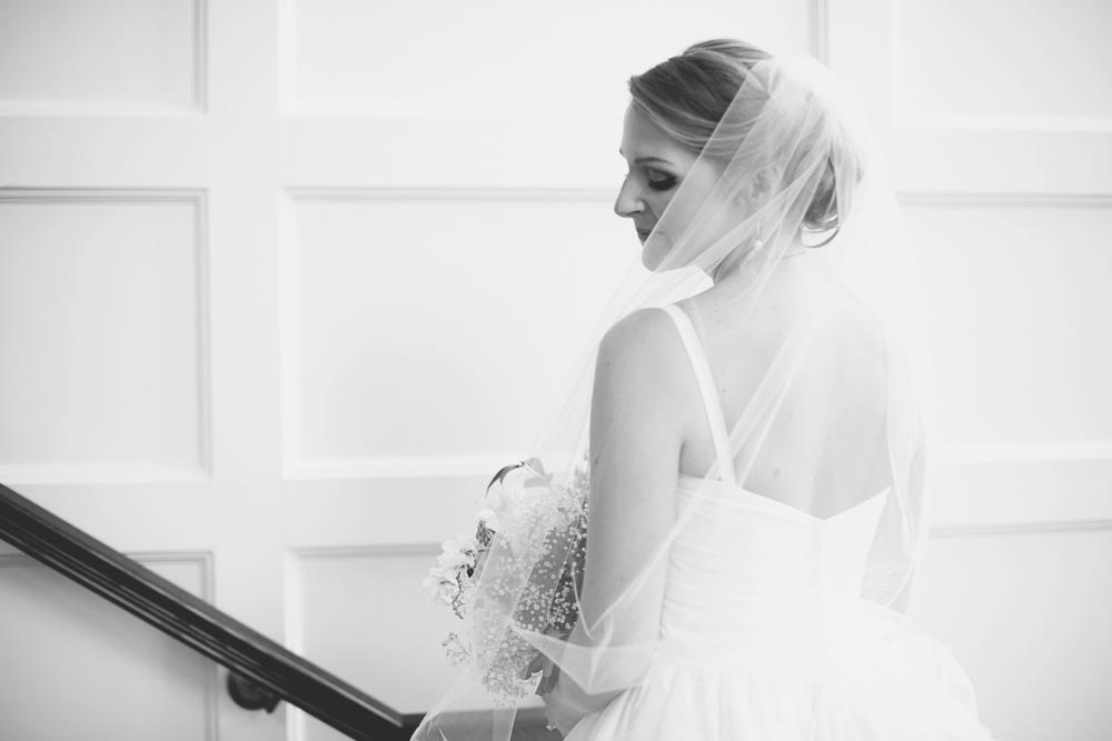 Trump National Golf Club Wedding | Washington, DC Wedding | Stunning bridal portrait on a staircase | Black and white