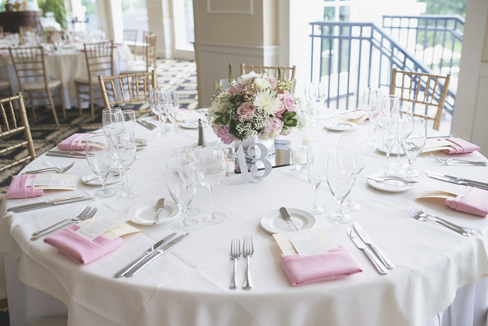 Trump National Golf Club Wedding | Washington, DC Wedding | Wedding reception | Reception table with blush pink and white floral centerpiece