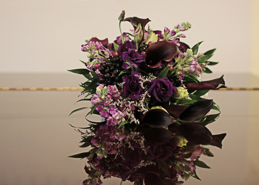 Our Wedding Day | Purple Calla Lily Bridal Bouquet