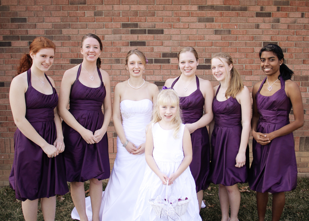 Our Wedding Day | Purple and white bridesmaid dresses