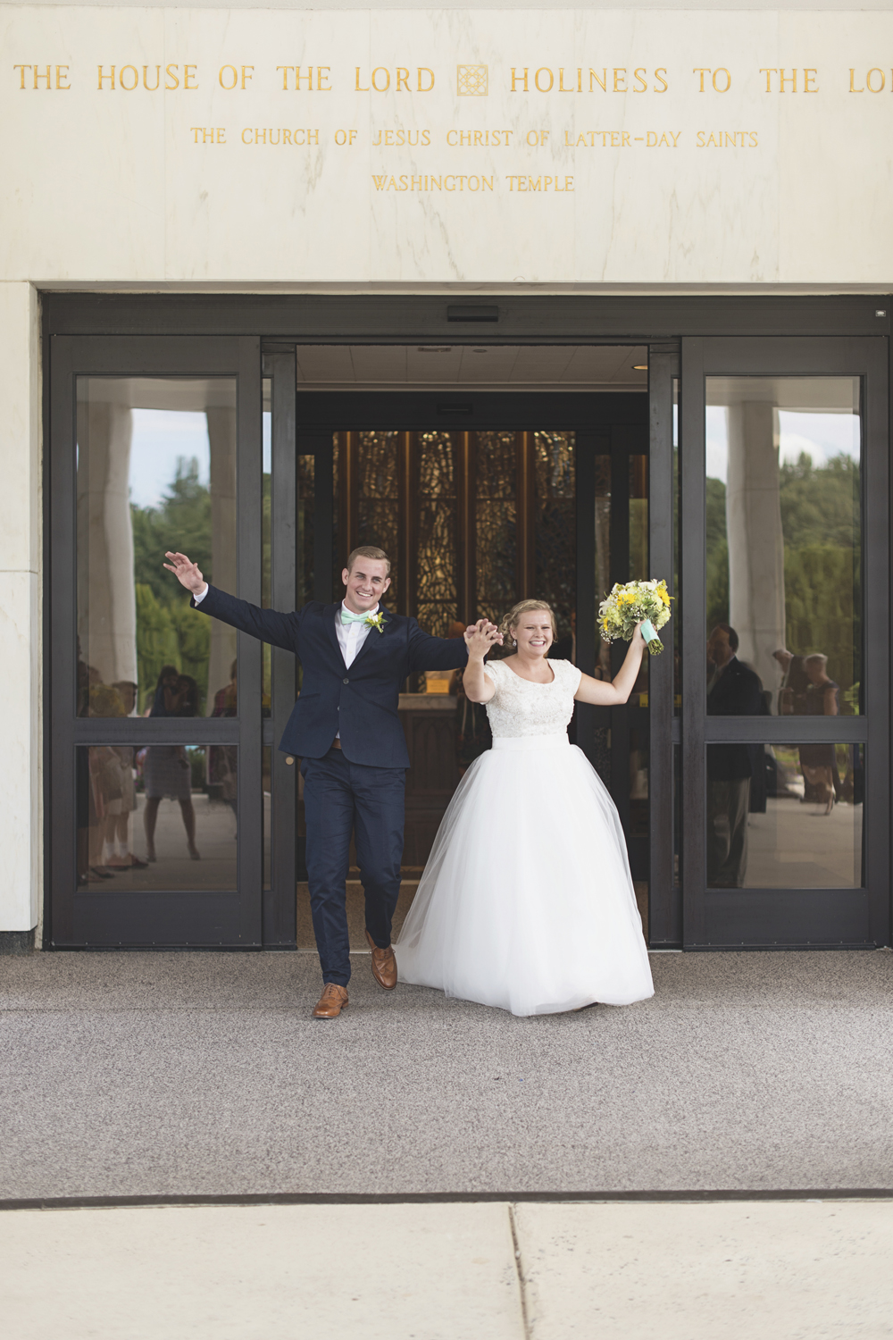 LDS Temple Mormon Wedding | Washington, DC, Wedding | Temple sealing exit