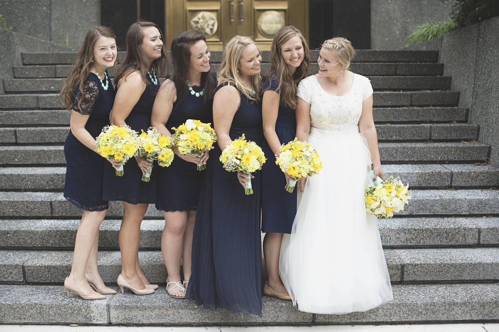 LDS Temple Mormon Wedding | Washington, DC, Wedding | Navy & seafoam green bridal party portraits