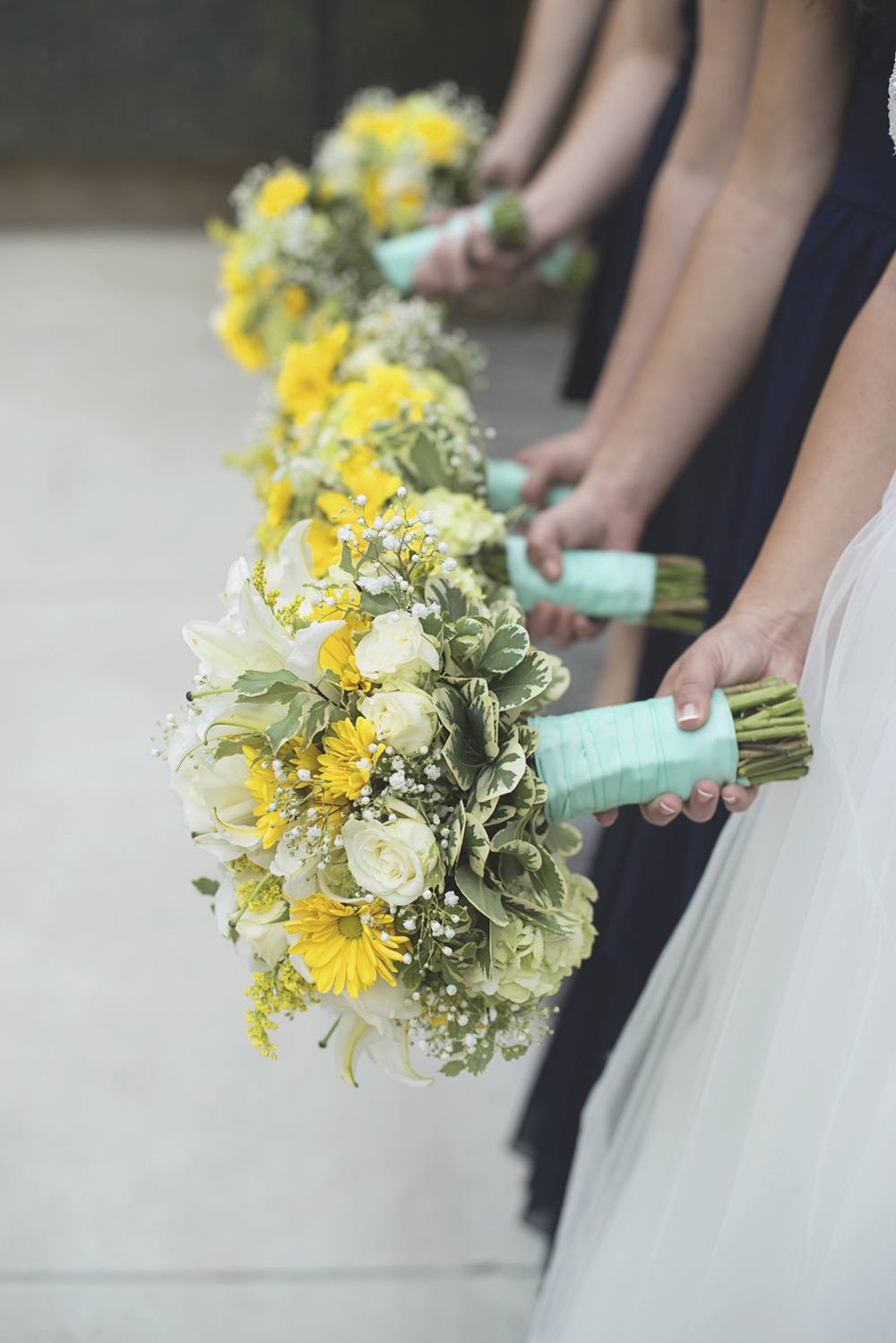 LDS Temple Mormon Wedding | Washington, DC, Wedding | Yellow daisy and white rose bouquets