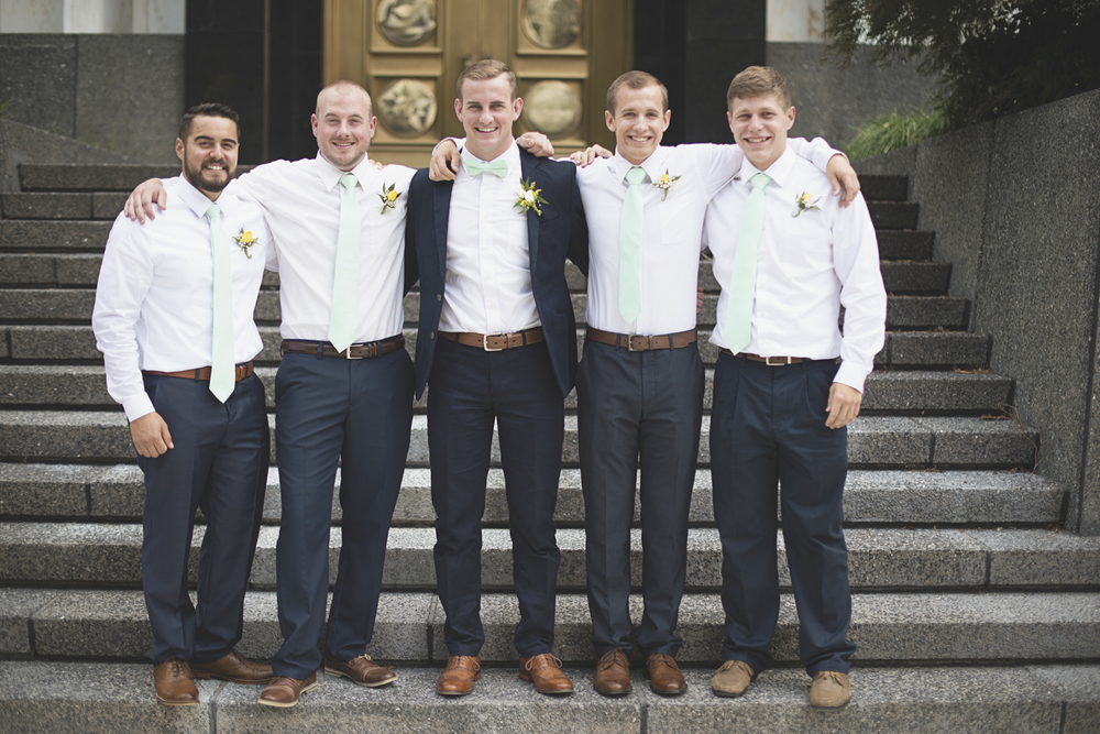 LDS Temple Mormon Wedding | Washington, DC, Wedding | Navy & seafoam green groomsmen portraits