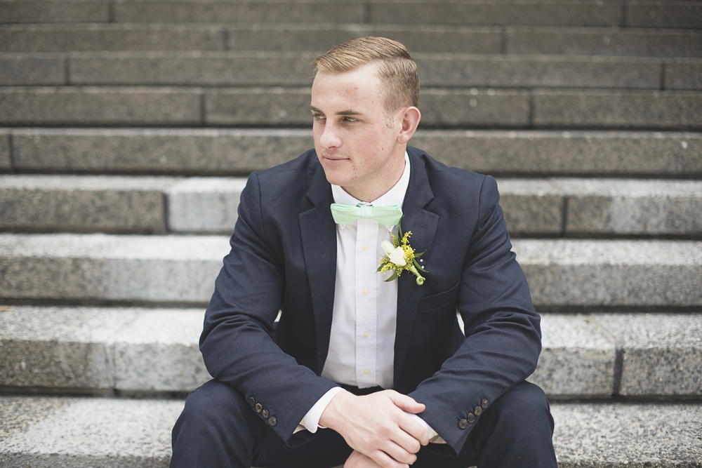 LDS Temple Mormon Wedding | Washington, DC, Wedding | Navy suit & seafoam green bowtie | Groom portraits