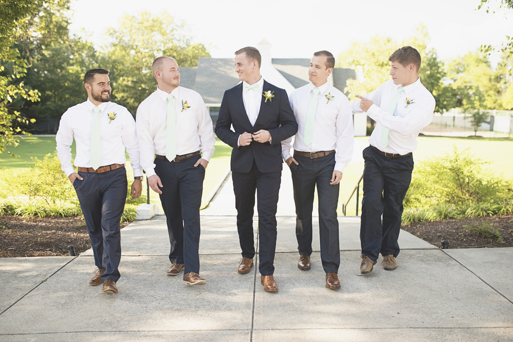 Confederate Hills Recreation Center Wedding | Richmond, Virginia, Wedding | Navy & seafoam green groomsmen portraits