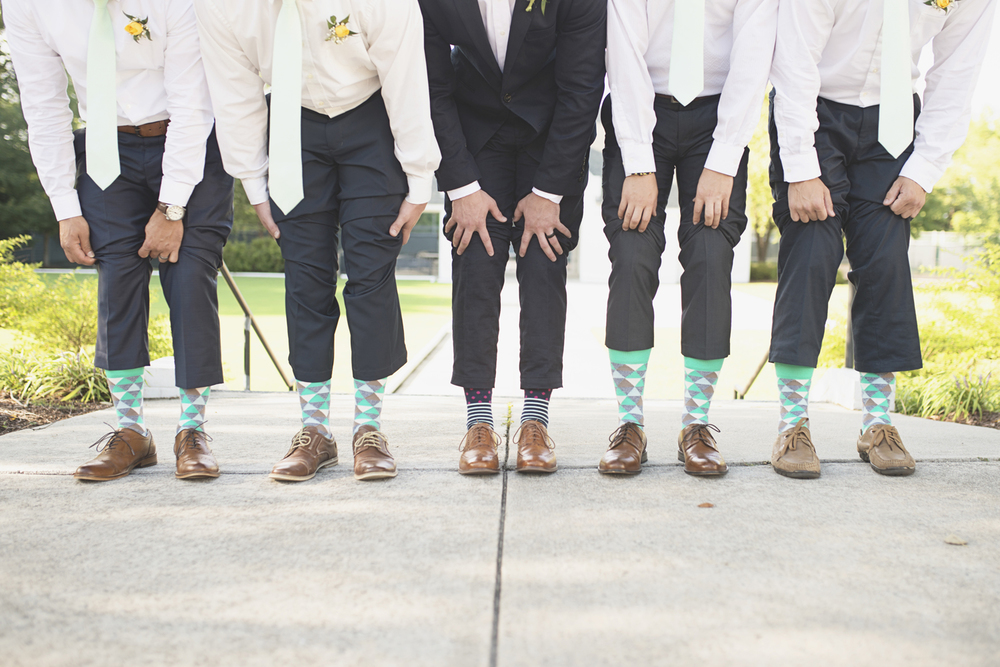 Confederate Hills Recreation Center Wedding | Richmond, Virginia, Wedding | Navy & seafoam green groomsmen socks