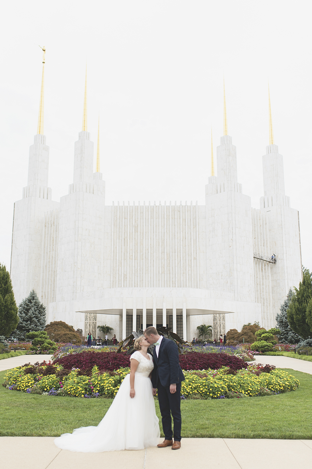 LDS Temple Mormon Wedding | Washington, DC, Wedding | Bride & groom portraits in front of temple