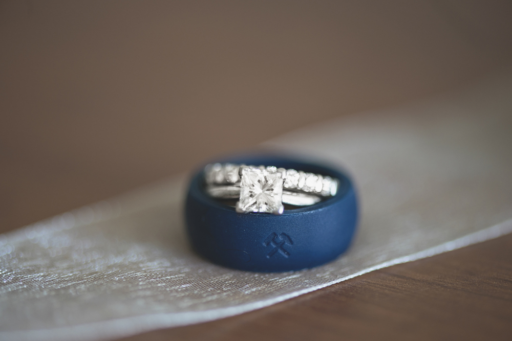Virginia Beach Oceanfront Wedding | Creative ring shot with silicone wedding band