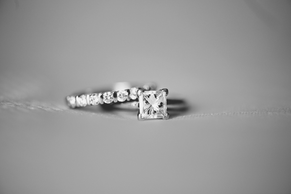 Virginia Beach Oceanfront Wedding | Black and white macro ring shot