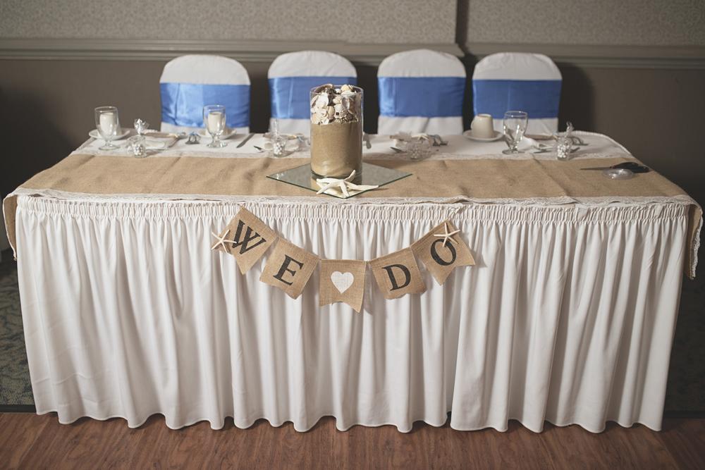 Virginia Beach Oceanfront Wedding | Blue and white beach wedding reception