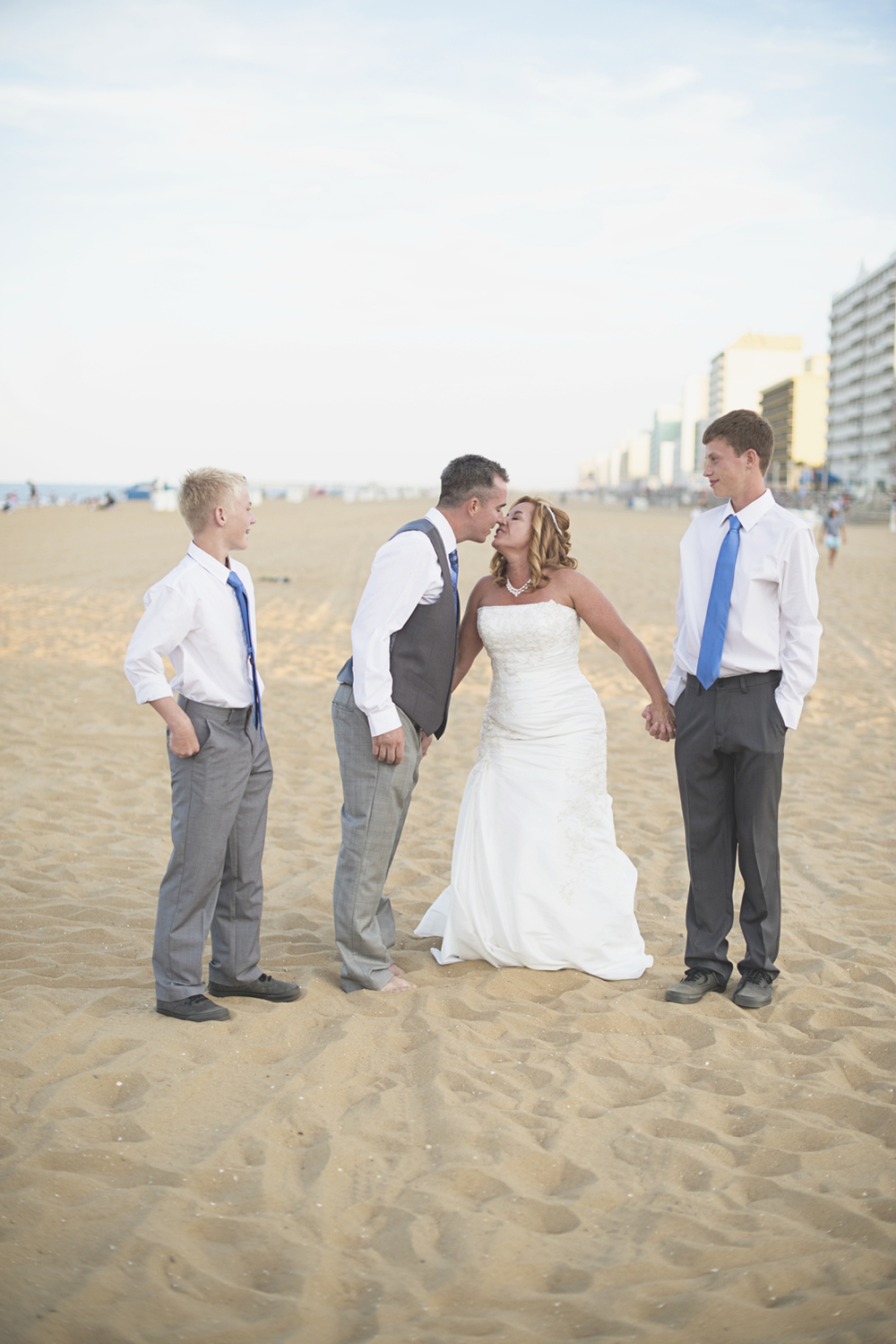 Virginia Beach Oceanfront Wedding | Bride and groom family portraits