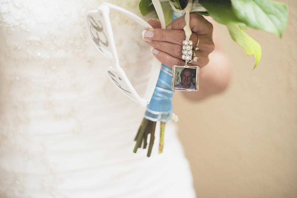 Virginia Beach Oceanfront Wedding | Bridal bouquet memorial tribute