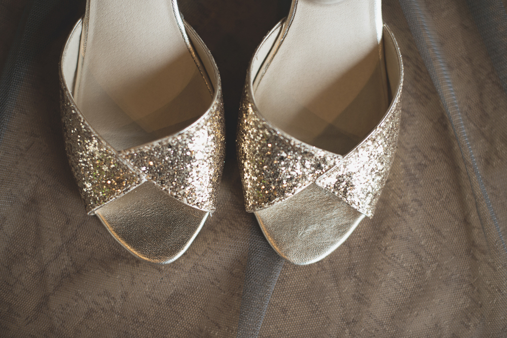 Lewis Ginter Botanic Garden Wedding | Richmond, Virginia, Wedding | Sparkly gold wedding shoes