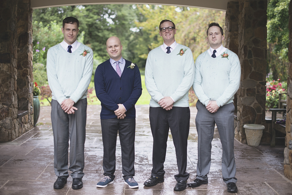 Lewis Ginter Botanic Garden Wedding | Richmond, Virginia, Wedding | Mint green and navy groomsmen portraits