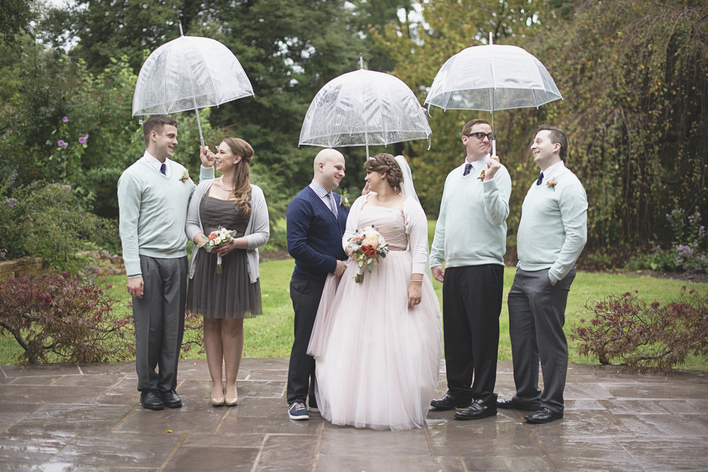 Lewis Ginter Botanic Garden Wedding | Richmond, Virginia, Wedding | Blush, mint green, and gray bridal party portraits