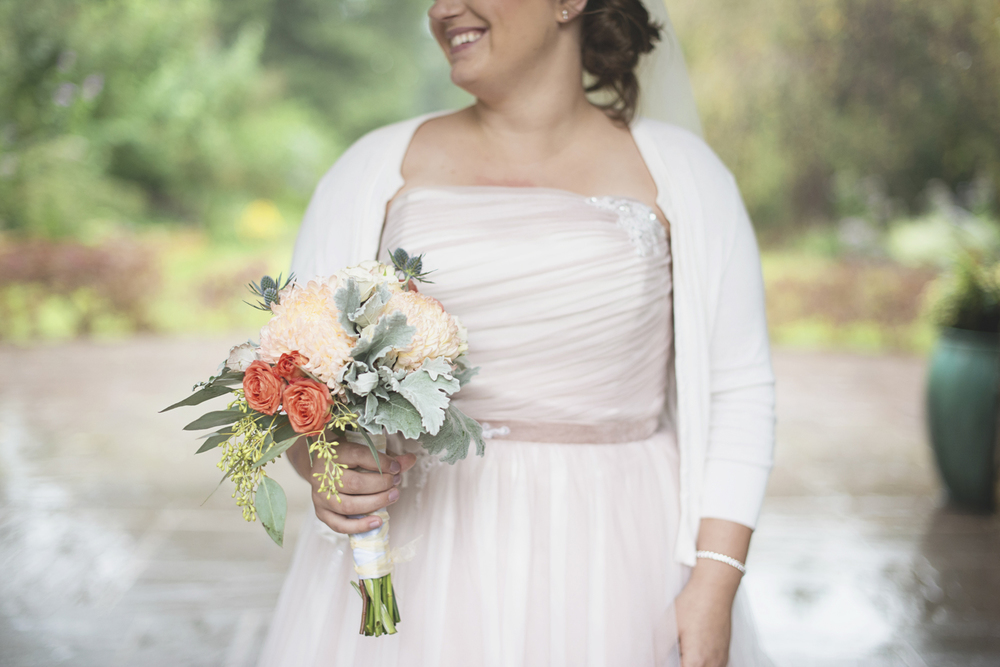 Lewis Ginter Botanic Garden Wedding | Richmond, Virginia, Wedding | Bridal portrait with blush wedding dress